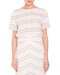 Proenza Schouler | White Short-sleeve Sheer-striped Top | Lyst