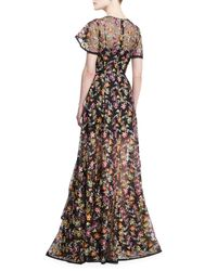 Zac Posen - Black Floral-embroidered Organza Gown - Lyst