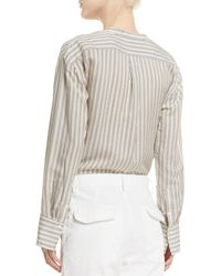Vince - Gray Striped Half-placket Silk Tunic - Lyst