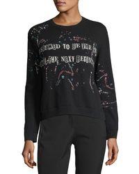 Valentino - Black Punk Intarsia Wool-cashmere Crewneck Sweater - Lyst