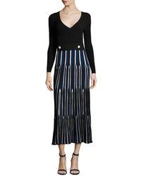 Derek Lam - Blue Long-sleeve V-neck Pleated Dress - Lyst