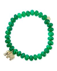 Sydney Evan - 8Mm Faceted Green Onyx Beaded Bracelet With 14K Gold/Diamond Small Elephant Charm (Made To Order) - Lyst