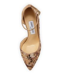 Jimmy Choo - Natural Lucy Sequined Half-d'orsay Pumps - Lyst