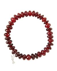 Sydney Evan | Red 8mm Faceted Garnet Beaded Bracelet With 14k White Gold/diamond Small Love Charm (made To Order) | Lyst