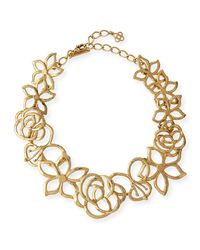 Oscar de la Renta - Metallic Intertwined Floral Statement Necklace - Lyst