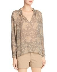 Vince - Multicolor Vintage Floral Pleat-neck Silk Blouse - Lyst