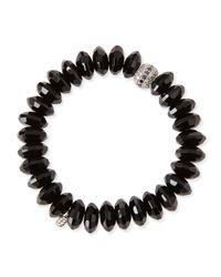 Sydney Evan   12mm Faceted Black Agate Beaded Bracelet W/ 14k White Gold Diamond Disc   Lyst