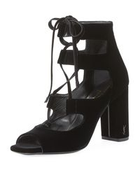 Saint Laurent - Black Loulou Velvet Lace-up Sandal - Lyst