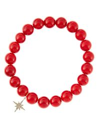 Sydney Evan | 8Mm Red Coral Beaded Bracelet With 14K Yellow Gold/Diamond Small Evil Eye Charm (Made To Order) | Lyst