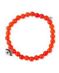 Sydney Evan | 6mm Beaded Bright Orange Agate Bracelet With Diamond Eyelash Charm | Lyst
