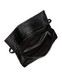 Nancy Gonzalez - Black Gotham Metallic Python Flap Clutch Bag - Lyst