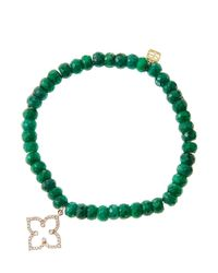 Sydney Evan   Green 6Mm Faceted Emerald Beaded Bracelet With 14K Rose Gold/Diamond Moroccan Flower Charm (Made To Order)   Lyst