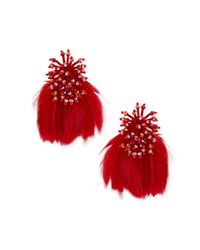 Mignonne Gavigan - Red Mini Delaney Bead & Feather Drop Earrings - Lyst