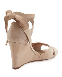 Aquazzura - Multicolor Tarzan Suede Ankle-wrap Wedge Sandal - Lyst