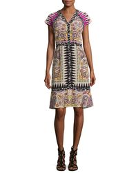 Etro - Multicolor Paisley Floral-trim V-neck Flounce Dress - Lyst
