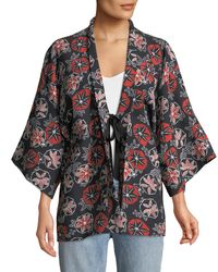 Elizabeth and James - Black Drew Printed Open Tie-front Kimono - Lyst