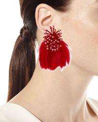 Mignonne Gavigan - Red Mini Delaney Bead & Feather Drop Earrings - Lyst