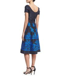 Oscar de la Renta - Blue Short-sleeve Embroidered Faille Cocktail Dress - Lyst