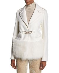 Gabriela Hearst - White Shelby Fur-trim Hook-front Coat - Lyst
