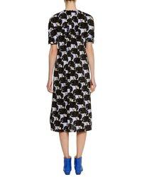 Marni - Black Short-sleeve A-line Printed Midi Dress W/ Pleating - Lyst
