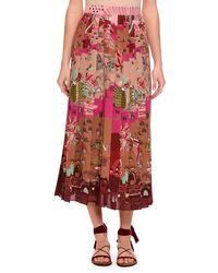 Valentino - Multicolor Garden Of Delight Pleated Tea-length Skirt - Lyst