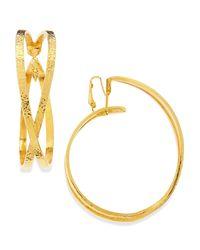 Jose & Maria Barrera - Metallic 24k Gold Plated X Hoop Clip-on Earrings - Lyst