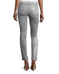 J Brand - Metallic Mid-rise Super Skinny Velvet Pants - Lyst