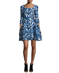 Carolina Herrera - Blue 3/4-sleeve Petal-print Party Dress - Lyst