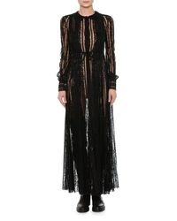 Valentino - Black Long-sleeve Embroidered Chiffon Gown - Lyst
