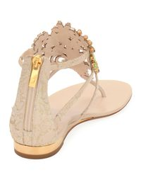 Rene Caovilla - Natural Embellished Lace Leather Sandal - Lyst