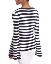 MILLY - Blue V-neck Bell-sleeve Pullover Top - Lyst