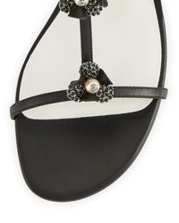 Rene Caovilla - Black Embellished Leather T-strap Sandal - Lyst