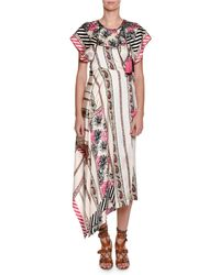 Etro - Pink Short-sleeve Asymmetric Silk Midi Dress - Lyst