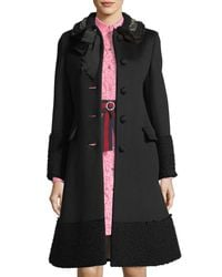 Gucci Black Embroidered Fur-trim Wool Coat