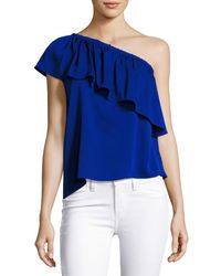 MILLY - Blue Ruffled One-shoulder Stretch-silk Top - Lyst