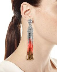 Oscar de la Renta - Red Ombre Crystal Tassel Earrings - Lyst