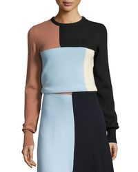 Cedric Charlier | Multicolor Colorblock Knit Crewneck Sweater | Lyst