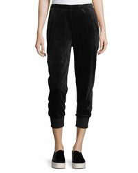Vince - Black Velour Suede Cuffed Jogger Pants - Lyst