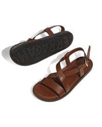 Ferragamo - Brown Nostro 2 Habana Leather Strap Sandal for Men - Lyst