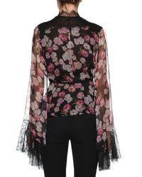 Giambattista Valli - Black V-neck Bell-sleeve Floral-print Silk Blouse W/ Wrap Belt & Lace Trim - Lyst