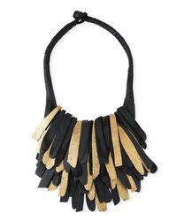 Urban Zen - Black Fringed Leather Necklace - Lyst