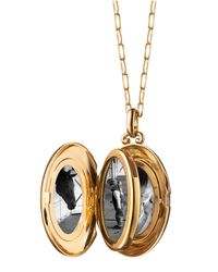 Monica Rich Kosann - Metallic 18k Yellow Gold Four-picture Locket Necklace With Diamond Border - Lyst