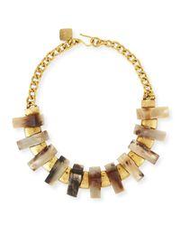 Ashley Pittman - Natural Jumbe Light Horn & Bronze Collar Necklace - Lyst