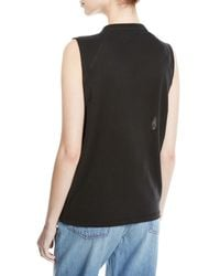 Olivier Theyskens Black Sleeveless Raglan Tank W/hook-and-eye Trim