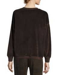 Vince - Brown Velour Long-sleeve Pullover Top - Lyst