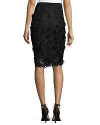 MILLY - Black 3d Floral-embroidered Lace Pencil Skirt - Lyst