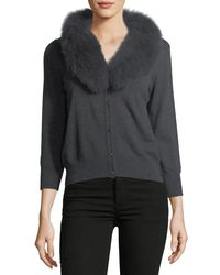 MILLY - Gray Fox Fur-collar Wool Cardigan - Lyst