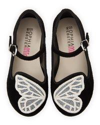Sophia Webster Black Bibi Butterfly Suede Flats