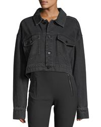 T By Alexander Wang | Black Cropped Oversized Denim Jacket | Lyst