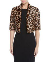 0db3e6887d76 Michael Kors. Women's Black Leopard-print Calf Hair Cropped Bolero Jacket